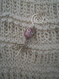 Shawl Pin in silver plated wire with pink owl by MichellesAssortment, $18.00