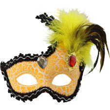 Venetiansk Ögonmask med Fjädrar Gul