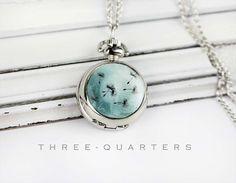 Uhrenketten - Pusteblume, Taschenuhr, Kettenuhr, türkis, blau - ein Designerstück von three-quarters_diary bei DaWanda