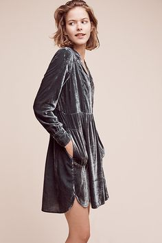 Velvet Shirtdress | Anthropologie