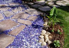 """flagstone path using blue and white recycled glass mulch to create """"river scene look"""" Garden Stream, Garden Mulch, Garden Paths, Garden Art, Garden Ideas, Gardening, Front Yard Landscaping, Backyard Patio, Landscaping Ideas"""