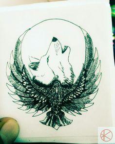 Wolf And Eagle Tattoos Lower Back Tattoos Wolf and eagle tattoos - wolf und adler ta Eagle Tattoo Forearm, Bald Eagle Tattoos, Native Tattoos, Wolf Tattoos, Animal Tattoos, Tribal Sleeve Tattoos, Tattoos Skull, Body Art Tattoos, Irish Tattoos