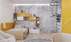 Cette chambre enfant design jaune suppose la présence d'un adolescent. Un lit confortable, des étagères et un mur d'accent unique créent un espace idéal pour un ado artistique, tout en reflétant sa personnalité.