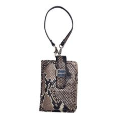 Phone Holder-Python Clip-on    $20.00    Stow your phone and have quick-and-easy access to every ring, buzz, or beep. Also great when you only need the essentials and don't want to lug around a big bag! Wrap it around your wrist and take on the day.    • Magnetic button/snap closures  • Zippered pouch  • Multi-use pockets and ID window • Wrist strap