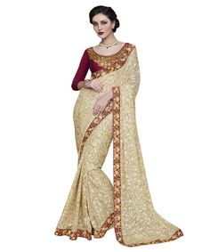 Buy Now Fancy Cream Embroidery Brasso Party Wear Saree With Dhupian Blouse only at Lalgulal.com. Price :- 2,392/- inr. To Order :- ttp://goo.gl/nGwn6x. COD & Free Shipping Available only in India