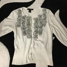 White House black market ruffle cardigan Adorable, practically new White House Black Market Sweaters Cardigans