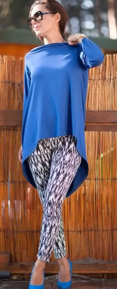 A personal favorite from my Etsy shop https://www.etsy.com/listing/200671393/asymmetrical-blue-loose-tunicdraped