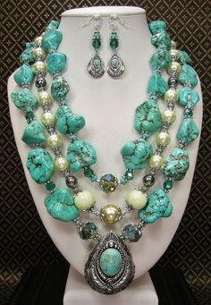 SOUTHWEST ELEGANCE - HOWLITE TURQUOISE STATEMENT Necklace / Cowgirl Western Necklace / Triple Strand / Bridal Turquoise & Pearls Jewelry - See more at: http://www.buckaroobay.com/catalog.php?item=7896#sthash.2m5ei9Uf.dpuf