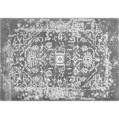 nuLOOM Bodrum Shaina Vintage Framed Tribal Rug, Grey (Charcoal)