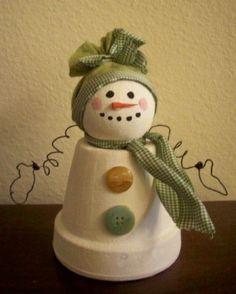 altered flower pot Snowman