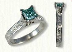 14kt White Gold Maureen Style Engagement Ring with the Glasgow Pattern down shank set with a Princess Cut Blue Diamond