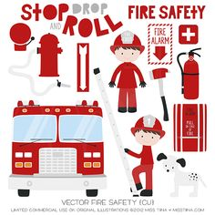 Vector Fire Safety {CU} Designed by customer request for Fire Prevention Week 2012 – October Perfect for teaching kids about fire safety at home and school! Keep It Sim… Fire Safety Poster, Safety Posters, Fire Truck Room, Fire Prevention Week, Firefighter Emt, Family Child Care, Clip Art, Fire Trucks, Commercial