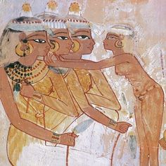 The Women's Toilet, from the Tomb of Nakht, New Kingdom, circa 1400 BC (Wall Painting) Ancient Egyptian Art, Ancient History, Art History, Egyptian Women, Rite Funéraire, Egypt News, Empire Romain, Visit Egypt, Egypt Art