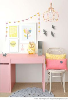 Escritorio de niña en color rosa | kids room decor