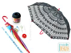 PDF Crochet Pattern for making a stunning Gothic Steampunk Style Lace Parasol Umbrella for Kids