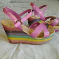 Rainbow heel sandal Pink cross strap with buckle.  Wedge heel with pink, yellow, green, purple detail.  Worn a few times.  Montego Bay Club.  No box. Shoes Wedges