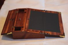 c.1820 Writing Slope made from Sapele Mahogany with a Waterfall Bubinga Top.  Open View.