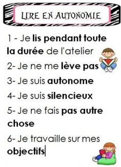 Atelier de lecture - Reading workshop - Affichages French Teaching Resources, Teaching French, Teacher Resources, Daily 5 Reading, Grade 1 Reading, Read In French, Learn French, Cafe Reading Strategies, French Education