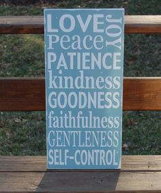 Fruit of the Spirit Distressed Galations 5 22 Christian Typography Scripture Subway Art Wood  Sign Painting