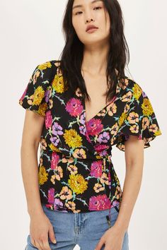 Bright Floral Wrap Blouse - New In Fashion - New In - Topshop USA