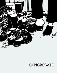 Love this Nikki McClure print. Taking your shoes off as you enter, so Minnesotan.