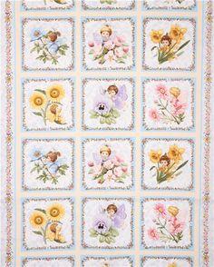 cream Angels & Fairies flower fairy glitter fabric Elizabeth's Studio