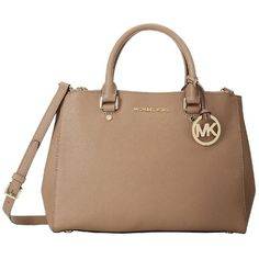 Pre-owned Michael Kors Sutton Dark Khaki Saffiano Leather Large... ($330) ❤ liked on Polyvore featuring bags, handbags, none, michael kors satchel, saffiano leather handbag, michael kors, beige purse and preowned handbags