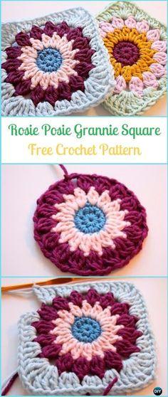 Crochet Rosie Posie Grannie Square Free Pattern - Crochet Granny Square Free Patterns