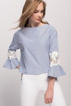 Kadın Mavi Kolu Dantelli Çizgili Bluz - - #Bluz #chemise #Çizgili #Dantelli #Kadın #Kolu #Mavi Blouse Styles, Blouse Designs, Beautiful Blouses, Refashion, Designer Dresses, Casual Outfits, Fashion Dresses, Clothes For Women, Womens Fashion
