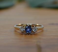 Art Deco Engagement Ring // Cornflower Blue Sapphire and Diamond Ring // Antique Engagement Ring on Etsy, $1,025.00