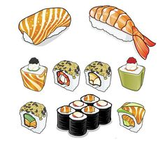 Sushi Illustrations by RPGdesign | Go to Source for 35 Delicious Food Illustrations!