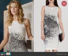 Petra's white spray paint print dress on Jane the Virgin.  Outfit Details: http://wornontv.net/47900/ #JanetheVirgin