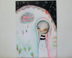 whimsical bunny painting folk art mixed media by thesecrethermit,
