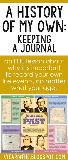 A Year of FHE: Year 01/Wk 04: Personal History & Keeping a Journal
