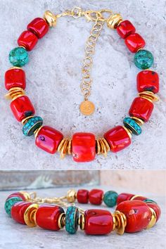 Bold Red Bamboo Coral, Turquoise and Gold Chunky Statement Choker Coral Jewelry, Beaded Jewelry, Beaded Necklace, Beaded Bracelets, Pendant Necklace, Artisan Jewelry, Handcrafted Jewelry, Unique Jewelry, Vintage Jewellery