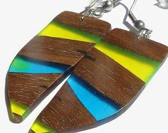 Wood and resin dangle and drop earrings; Sensitive ear earrings wood and resin jewelry; Light multicolor wood earrings; Colorful wood resin;
