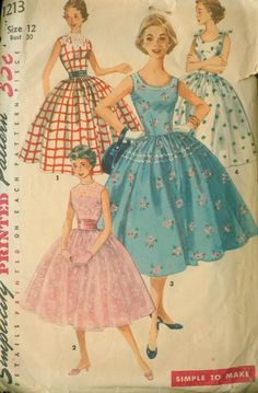 Party dress blue pink white red full skirt day summer sundress cocktail floral checks Simplicity 1213 Rockabilly DRESS Pattern Full Skirt Scoop Neck Simple to Sew womens vintage sewing pattern by mbchills 1950s Style, Style Année 60, Goth Style, Vintage Dress Patterns, Dress Sewing Patterns, Clothing Patterns, Pattern Dress, Neck Pattern, Free Pattern