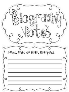 Image result for biography note taking sheet