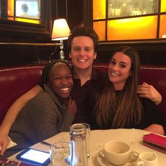 """These two always bring a smile to my face! Saturday  brunch ritual in NYC w/ #JonGroff & @cynthiaerivo ❤️"""