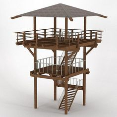 Wood Lookout Tower Model available on Turbo Squid, the world's leading provider of digital models for visualization, films, television, and games. Pole House, Lookout Tower, Tree House Designs, Tower Design, Play Houses, Architecture Design, Outdoor Living, House Plans, Backyard
