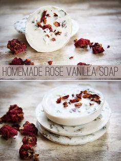 Homemade Rose Vanilla Soap