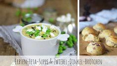Erbsen-Feta-Suppe & Zwiebel-Dinkel-Brötchen