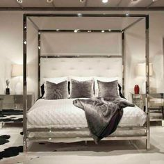 Polished Stainless Steel Canopy Four Poster Bed, Bed Down Furniture Atlanta Canopy Bed Frame, Canopy Bedroom, Room Ideas Bedroom, Dream Bedroom, Home Decor Bedroom, Office Canopy, Modern Canopy Bed, Metal Canopy Bed, Window Canopy