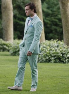 Chuck Bass Ed Westwick suit costume marriage wedding garden party