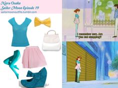Like Sailor Moon Outfits on Facebook! American Apparel small bow hair clip in Honey Gold American Apparel opaque pantyhose in Columbia American Apparel chiffon double-layered shirred waist skirt in Light Pink Forever 21 raw edge v-neck tee in Teal Bamboo florita mary-jane wedge in Teal Rare bags faux ostrich tote in White