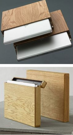 Creative wooden laptop case will be sure to leave your co-workers in awe.