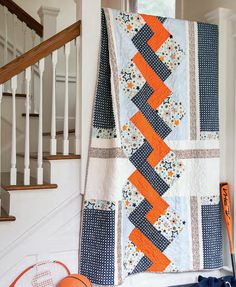 'Star Crossed' Modern Faux Braid Quilt made with Simple Blocks - Free Quilting Pattern