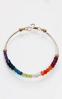 Chakra Bracelet with Gold Tube Beads
