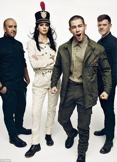 Militant: Kendall is pictured with friend Nick Jonas as they model looks for Cadet (Raul Arevalo and Brad Schmidt)