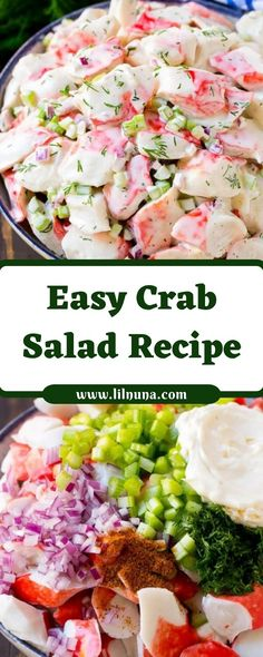 1 pound imitation crab meat flaked style, or sticks cut into slices cup celery finely chopped 3 Crab Meat Salad, Crab Pasta Salad, Seafood Salad, Fake Crab Salad Recipe, Crab Salad Dressing Recipe, Crab Salad Recipe Healthy, Seafood Platter, Seafood Appetizers, Sea Food Salad Recipes